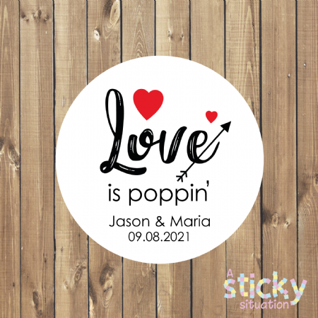 Personalised 'Love is Poppin' Stickers
